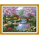 Benway Kit de punto de cruz, paisaje japonés hermoso paisaje, 14 hilos, 57 x 45 cm