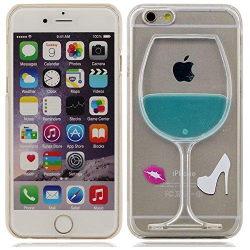 iPhone 5 Coque, iPhone 5 case,Cas de l'iPhone 5S, l'iPhone 5 Cover Case 5G Chaussures et Lèvres 3D Cup Liquide État Rouge vin clair, un design unique à talons hauts [Anti-rayures] Transparent Hard Cov bleu