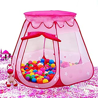 AUTOPKIO Portable Folding Children Tents Playhouses Hexagonal Fairy Princess Play Tent Ball Pit Indoor Outdoor Kids Castle Cubby Play House