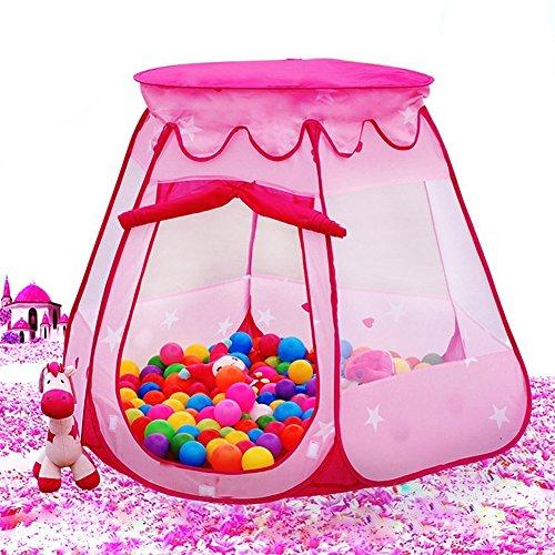 Preisvergleich Produktbild AUTOPKIO Tragbare Falten Kinder Zelte Spielhäuser Hexagonal Fairy Princess Spiel-Zelt-Ball Pit Indoor Outdoor Kids Castle Cubby Play House (Rosa)