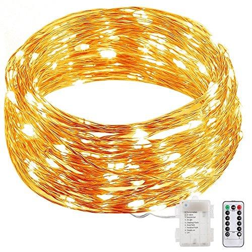 Gresonic 100er LED Micro Draht Lichterkette Kupfer 8 Modi Dimmbar Timer und Fernbedienung Batteriebetrieben Deko für Außen Innen Warmweiß