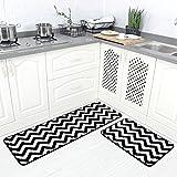 Carvapet, 2 x Mikrofaser-Matten, für Küche, Teppich, Chevron, rutschfest, weich Schwarz