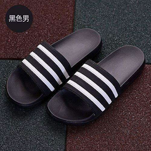 DogHaccd pantofole,Estate sandali uomini scanalato marea bagno bagno anti-slittamento soggiorno spessa indoor e outdoor leisure cool pantofole Nero2