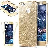 Coque Huawei P9 Lite,Etui Huawei P9 Lite,Intégral 360 Degres avant + arrière Full Body Protection Bling Brillant Glitter Transparent Silicone Gel Case Coque Housse Etui pour Huawei P9 Lite,Or