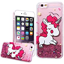 "WE LOVE CASE iPhone 6 / 6s Cover Unicorno Bianco Glitter Transparente Quicksand Liquido Diamante Liquid Sabbie Mobili Amore Stella iPhone 6 / 6s 4,7"" Custodia Rosa Cassa Duro del PC di Plastica con TPU Silicone Soft Backcover Protettiva Protezione Shock Proof Bumper Coperture Posteriori Anti Graffio Caso per Apple iPhone 6 / 6s 4,7"""