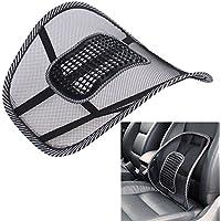 Alientech coche asiento silla masaje de espalda apoyo lumbar espalda cintura cojín gamuza de malla ventilar