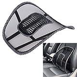 AlienTech Autositz Stuhl Lendenwirbelstütze Massage Rücken Taille Kissen Mesh Tuch Belüften Kissen Pad für Auto Office Home Auto Styling Lendenkissen, Schwarz