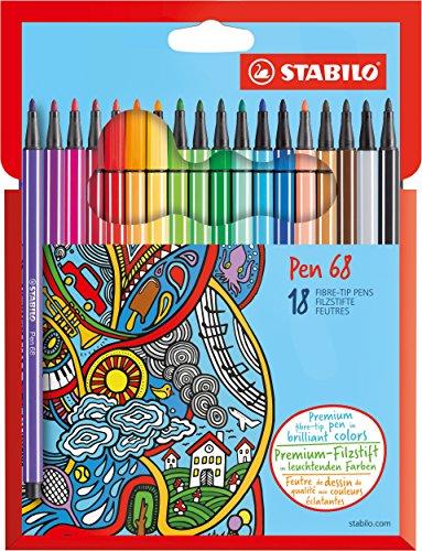 Stabilo 6818-7 Pen 68 Astuccio in Cartone da 18 Pezzi
