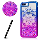 Slynmax Coque iPhone 8 Plus Coque iPhone 7 Plus Glitter Mince Fleur de Datura Motif Mode Luxe Housse Brillant Bling Paillettes Sparkly 3D Liquide Quicksands TPU Silicone Étui de Protection