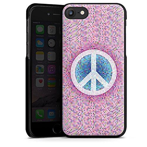 Apple iPhone X Silikon Hülle Case Schutzhülle Peace Hippie Frieden Bunt Hard Case schwarz