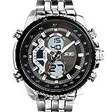 SunJas Reloj Electrónico de Negocios de Cuarzo Reloj Deportivo de Multifunciones Impermeable de 30m con Banda Ajustable de Acero para Hombres (Negro)