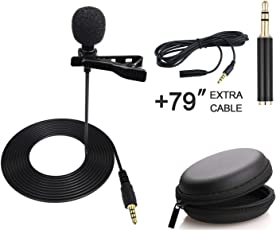 AccsPro Professional Lavalier Lapel Clip-on Microphone Omnidirectional Condenser Mic with Cable 1.5m (Black)