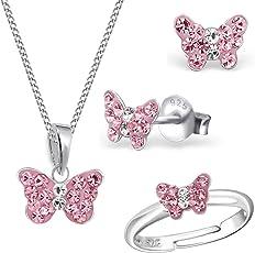 Mädchen Rosa Kristall Schmetterling Ring + Anhänger + Halskette + Ohrstecker 925 Echt Silber Kinder Set