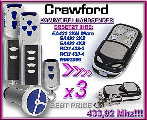 Preisvergleich Produktbild 3 X CRAWFORD T433-4 ,CRAWFORD EA433 2KS , CRAWFORD EA433 4KS , CRAWFORD EA433 2KM(micro) , CRAWFORD RCU433-2 , CRAWFORD RCU433-4 , CRAWFORD N002800 Kompatibel Handsender, 433.92Mhz rolling code keyfob