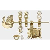 PEKT Mannar Craft Brass Manichitratal Mct Mayur Door Lock with Knocker and 3 Keys, 16 inches, Metallic