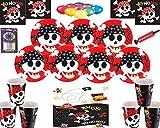 Décorations pour Les fêtes de Pirate Assiettes Tasses Serviettes Paquet de Ballons sans Nappe sans Bougies