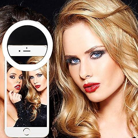 Selfie Anneau HKMIU Selfie Light Macro-clip Équipé de 36 LED Selfie lumière de 3 Niveaux de Lumière Ajustable Selfie Ring Light de Haute Luminosité Facile à Fixer et à Retirer Selfie Éclairage de Nuit et de L'obscurité compatible avec plupart des téléphones portables et tablettes iPhone/iPad/Huawei/Samsung/Xiaomi/Nokia - Noir