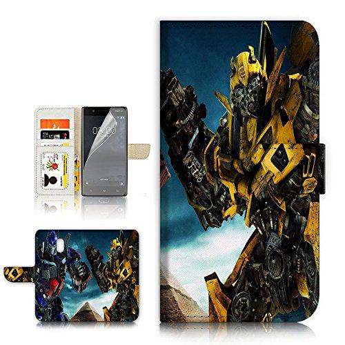 ( For Nokia 3 ) Flip Wallet Case Cover & Screen Protector Bundle - A21296 Transformers Bumblebee