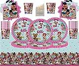 Lol Surprise Party Pack Enfants Anniversaire Vaisselle 49 Pièces LOL Fournitures De Fête pour 16 Lol Assiettes Tasses Serviettes Couverture De Table