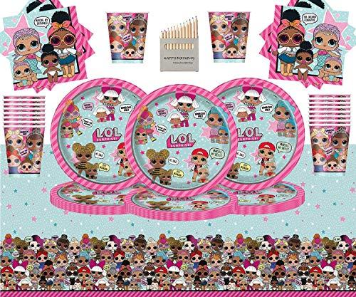 LOL Surprise Party Pack Stoviglie per Compleanno per Bambini 49 Pezzi LOL Forniture per Feste Serve 16- Piatti LOL Tazze Tovaglioli Tovaglia