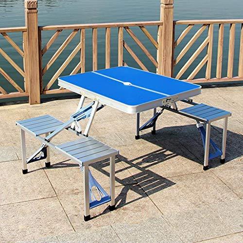 LIUXIN Tragbarer Aluminiumlegierungstisch und -stühle des Klapptisches im Freien Picknickgrill-Tischfarbe: weiß, blau, orange Klapptisch (Farbe : C)