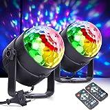 Boule Disco,MICTUNING Projecteurs pour Scène de Spectacle Lumière Soirée Disco 6W 6 Couleur Activée par la Musique avec Téléc