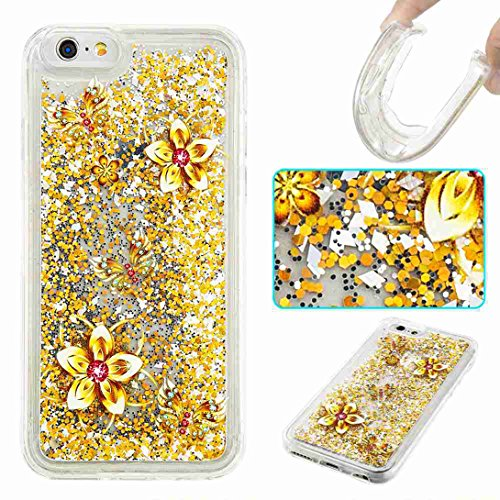 Pheant® Apple iPhone 6/6S (4.7 Zoll) Coque Gel Étui Brillante Housse Cas Transparent Etui de Protection en TPU Silicone Liquide Bling Gratuit Paillettes Sables Mouvants Couleur-06