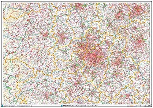 XYZ Postleitzahl Sector Karte-(S10)-West Midlands-Papier (Postleitzahl Sector Karten) -