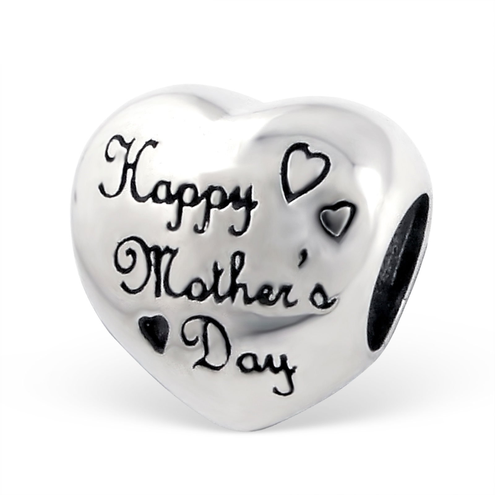 """Silvadore – Silver Bead – """"Happy Mother's Day"""" Engraved Heart Love Symbol Plaque Mum – 925 Sterling Charm 3D Slide On…"""