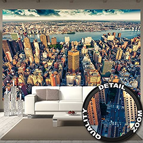 Wallpaper New York City Skyline – wall picture decoration sundown Manhattan America USA décor Big Apple NYC I paperhanging Wallpaper poster wall decor by GREAT ART (132.3 x 93.7 Inch / 336 x 238 cm)