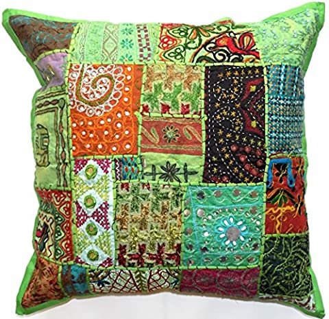 Large Zip Decorative Cushion Cover Green 24x24