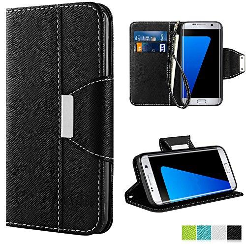 Galaxy S7 Edge Hülle, Vakoo Bookstyle Tasche Flip Case Brieftasche Handyhülle Premium PU-Leder Hülle für Samsung Galaxy S7 Edge (schwarz)