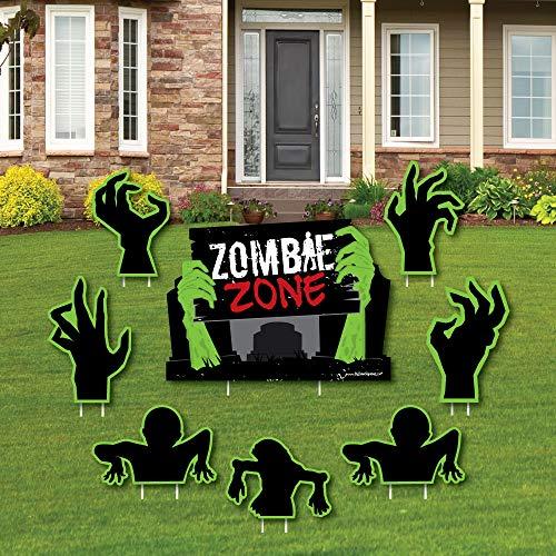 Big Dot of Happiness Zombie Zone - Yard Sign & Outdoor Rasen Dekoration - Halloween oder Geburtstag Zombie Crawl Party Yard Schilder - Set von 8
