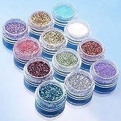 Idea Regalo - Bodhi2000, polvere glitterata,12colori, per nail art fai da te e decorazione delle unghie