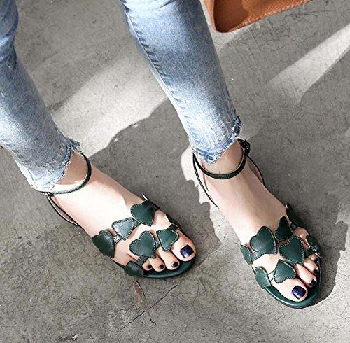 Pompa Amore D'Orsay sandalo vera pelle sandali Scarpe casual Donne Moda Semplice Cavo Cinturino alla caviglia Word Fibbia Peach Heart Sandali piatti Scarpette Dimensioni Eu 34-40 Green