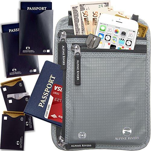 Porta passaporto da collo, utilizzabile in viaggio, con tecnologia anti identificazione a radio frequenza Graphite XL Universal