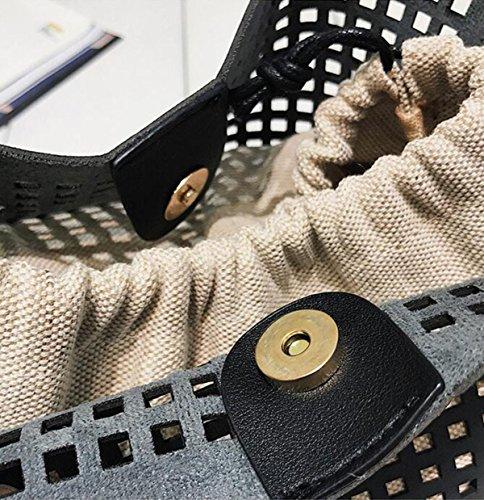 QPALZM Frauen-Niet-breiter Schulter-Bügel 2017 Personifizierte Hohle Handtasche Mit Schulter-Rock Brown