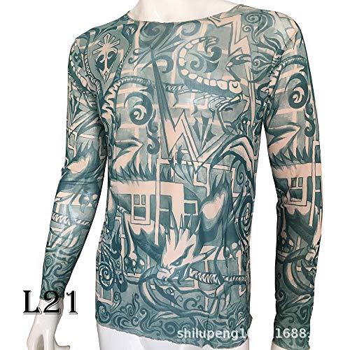 Kostüm Festival Musik - tzxdbh Tattoo Tattoo Langarm T-Shirt Damen Fan Digitaldruck Boden Shirt Musik Festival Kostüm L21 21 Print 170CM-182CM 60KG-110KG
