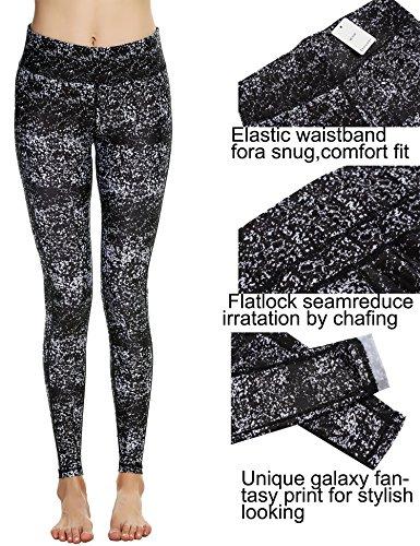 Ekouaer, Damen-Hochleistungssportkleidung, graphisch bedruckte Yoga-Leggings, Strumpfhose weiß