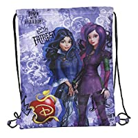 PERLETTI Disney Descendants Drawstring Sac for Girls - Children Swim Gym Bag Waterproof with Mal and Evie - Training Shoe Bag ideal for Travel and Sport - Purple - 39x31 cm