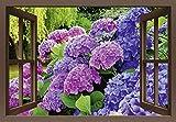 Artland Qualitätsbilder I Bild auf Leinwand Leinwandbilder Wandbilder 100 x 70 cm Blumen Hortensie Foto Lila B8CU Fensterblick Hortensien im Garten