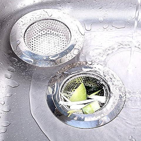 2pcs Filtre de vidange Crépine Évier en acier inoxydable évier de cuisine Passoire vidange protecteurs Idéal pour évier de cuisine et de salle de bain 4tailles disponibles (72mm)
