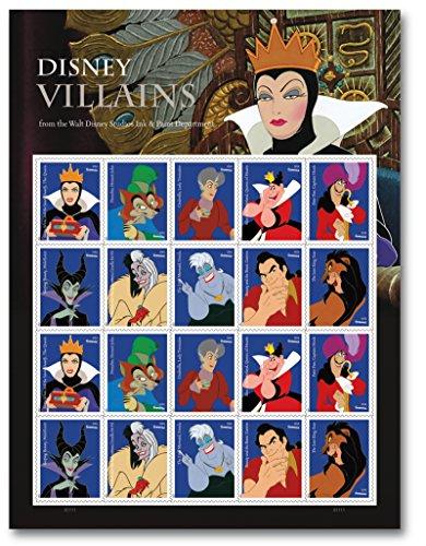 hte aus den Zeichentrickfilmen der Walt Disney Traumwelt klassischer Kleinboogen |20 Briefmarken |Disney-Zeichentrick-Motive (Böse Königin Disney)
