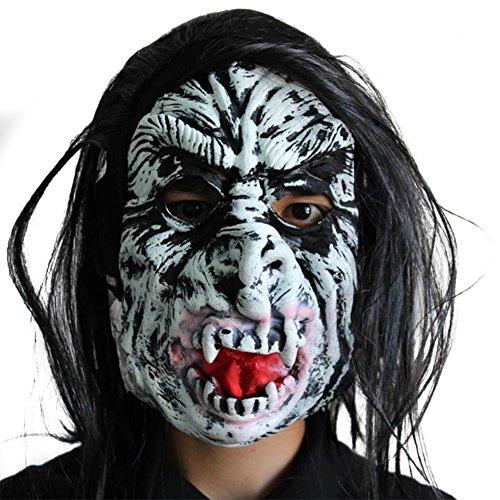Teufel Kostüm Unheimliche - Vikenner Halloween Unheimlich Maske Teufel Latex Gesichtsmaske Kopf Horror Masken für Party Festival Kostüm Tanzparty Cosplay Gesicht Requisiten Erwachsene-D
