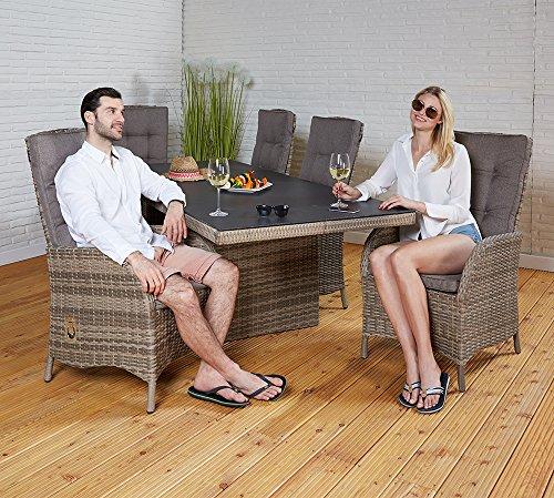 Polyrattan Tischgruppe Rabida Champagner Aluminium Rahmen Automatik-Rückenlehne Tisch 6 Stühle