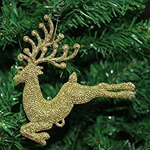 Pack Of 3 Glitter Flying Reindeer Christmas Tree Hanging Pendant Decorations  (1, Gold)