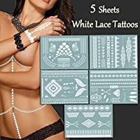 TAFLY Sexy White Tattoos Lace Bracelets,Necklace Jewelry Body Art Stickers Temporary Tattoos for Women 5 Sheets