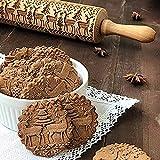 AmyGline Nudelholz mit Prägung Christmas Elk Patterns Prägewalze Holz Küchenwerkzeug Backzubehör stabil