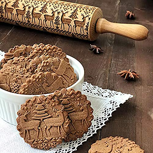 Nudelholz, Weihnachten Nudelholz, Biskuit Nudelholz, Präge-Nudelholz, Holz Nudelholz, Graviertes geschnitztes Holz geprägt Nudelholz Küchenwerkzeug Küche Werkzeug (43)