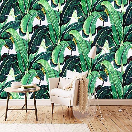 300X250cm Benutzerdefinierte Wandbild Tapeten im Europäischen Stil Retro Handbemalte Regenwald Anlage Banana Leaf pastorale Wandmalerei Wallpaper 3D -